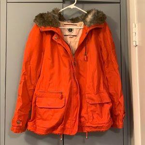 Orange cotton jacket with faux fur hood